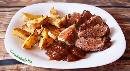 Kacsamell füge chutneyval és steak burgonyával
